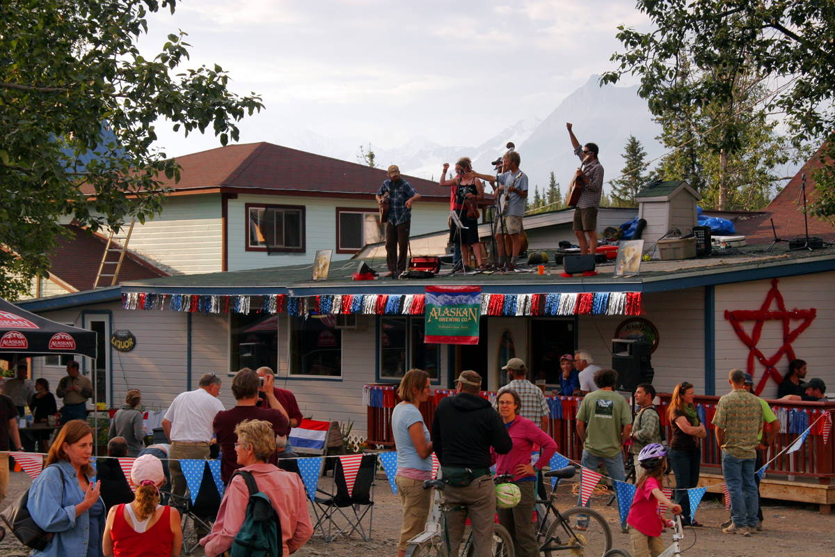Rooftop party in McCarthy, Alaska