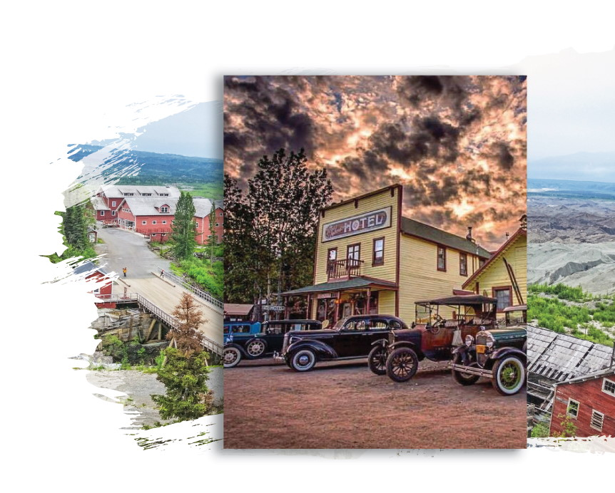 Ma Johnson's Hotel with antique cars and stormy sky
