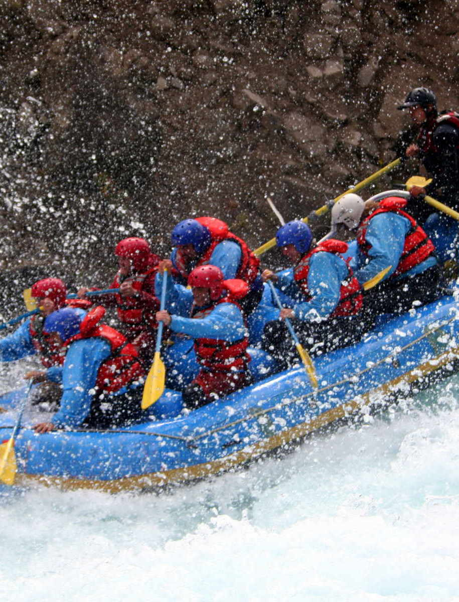River rafting on fast water